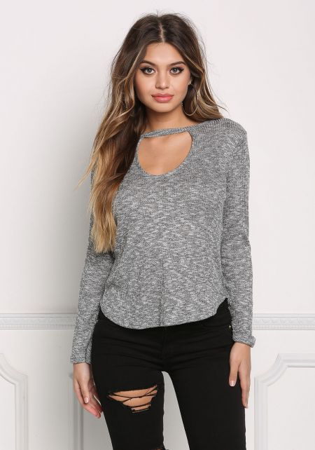 Heather Grey Marled Cut Out Knit Top