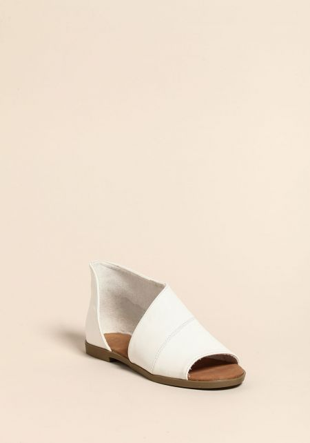 White Leatherette Open Toe Sandals