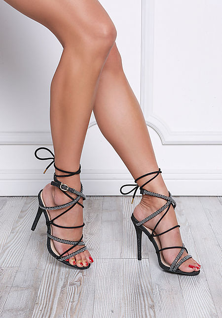 Black Rhinestone Lace Up Heels