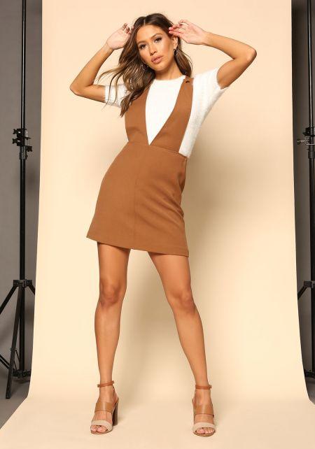 Camel A-Line Overalls Dress