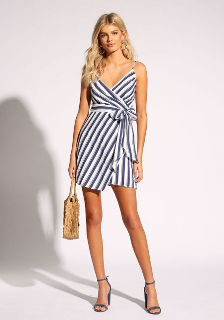 Navy Stripe Faux Wrap Waist Tie Dress