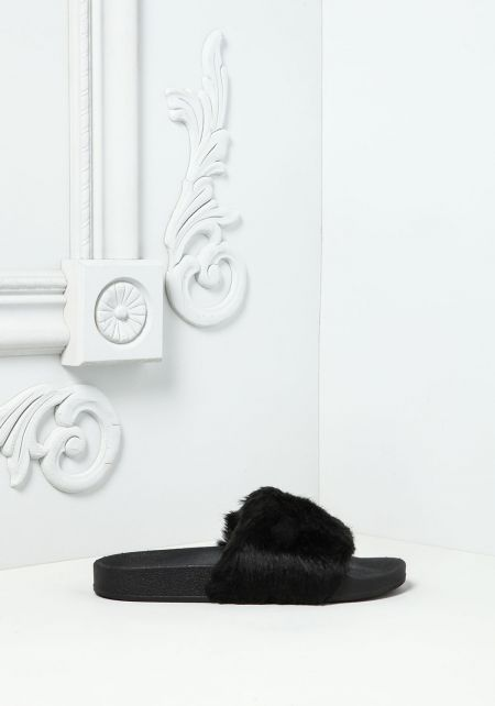 Black Faux Fur Slide Sandals