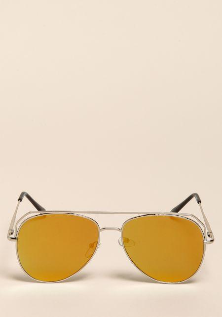 Gold Flat Aviator Top Bar Sunglasses