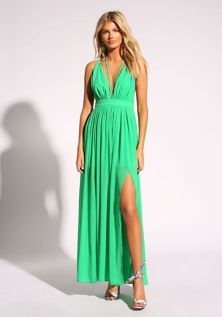 Green Cross Strap Two Slit Maxi Dress