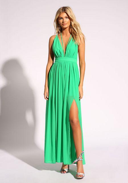 Green Cross Strap Two Slit Maxi Dress