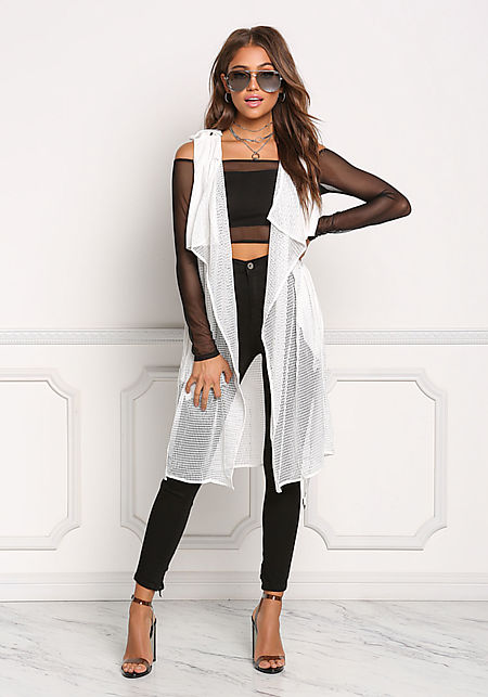 White Mesh Net Layered Cinched Trench Vest
