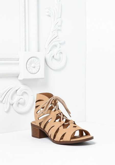 Beige Leatherette Lace Up Cut Out Sandals