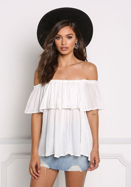 Off White Gauze Off Shoulder Tassel Strap Blouse
