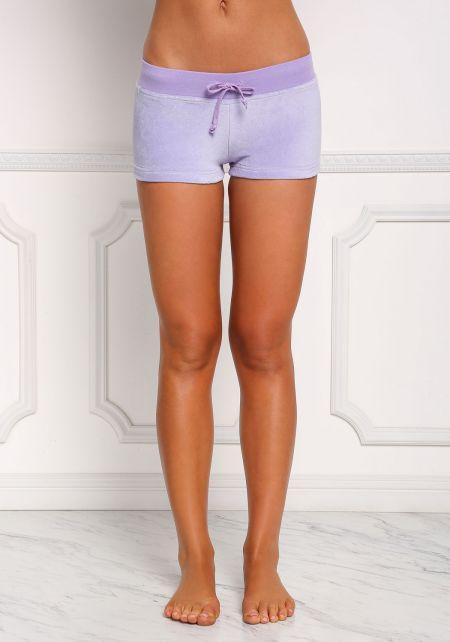 Lavender Velvet Low Rise Shorts