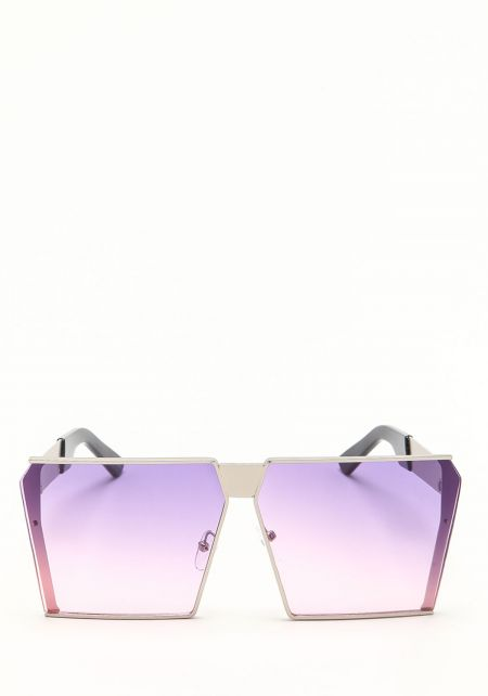 Zero UV Purple Oversize Gradient Square Sunglasses
