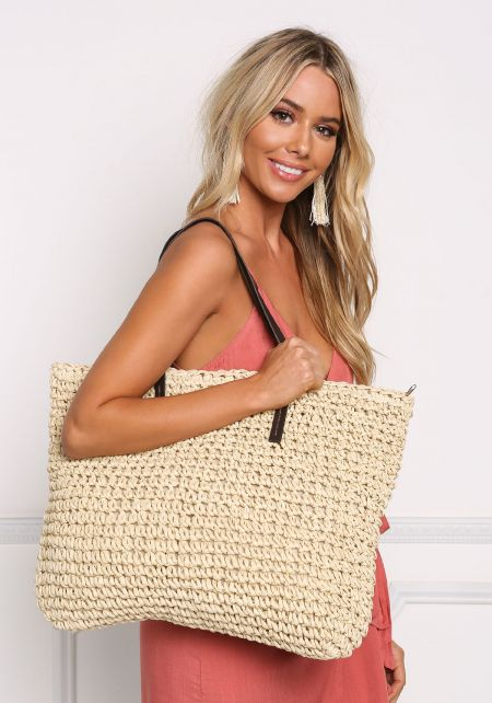 Natural Woven Tote Bag