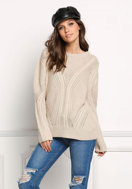 Oatmeal Chunky Knit Pullover Sweater Top