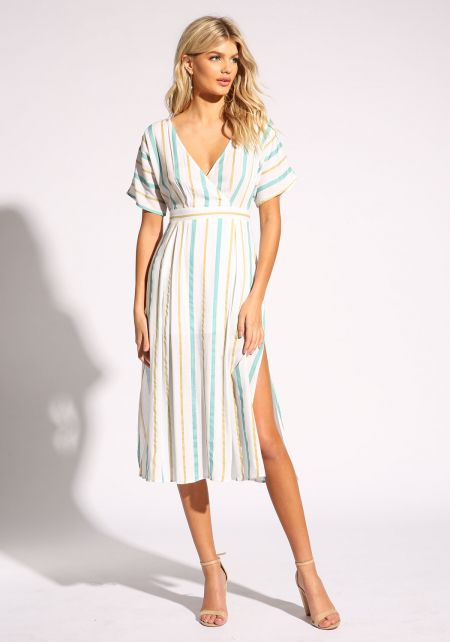 Mint Pinstripe Slit Faux Wrap Midi Dress