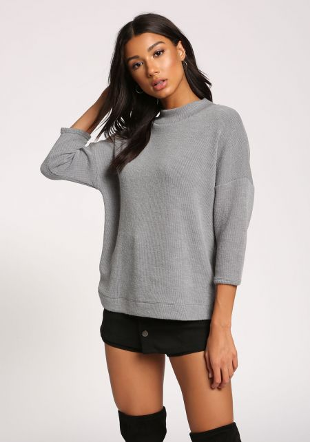 Grey Mock Neck Sweater Top