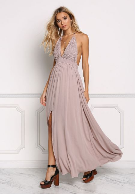 Mocha Crepe Crochet Trim Halter Maxi Dress