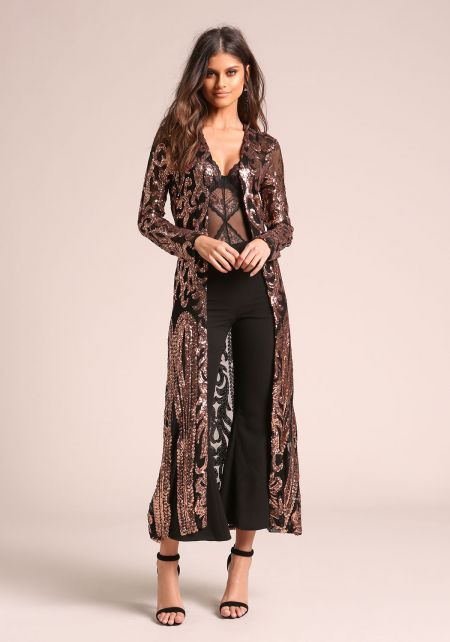 Black Sequin Brocade Mesh Longlined Cardigan