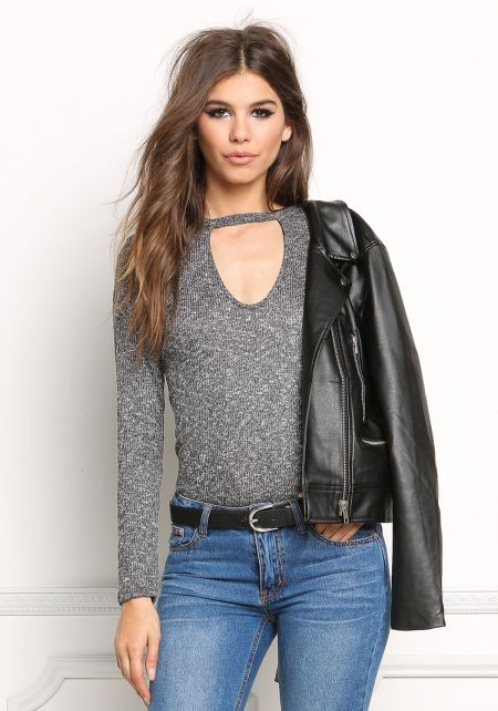 Black Marled Cut Out Knit Top