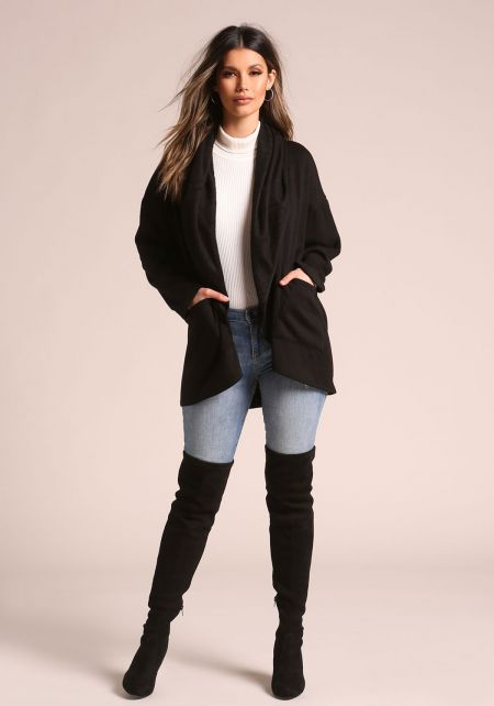 Black Marled Hooded Pocket Cardigan