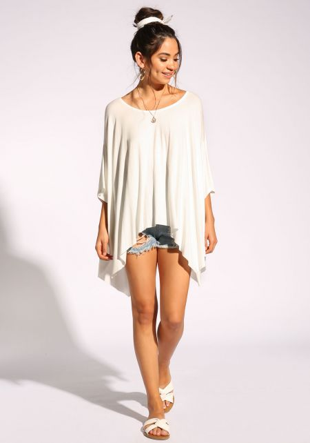 White Jersey Knit Dolman Top