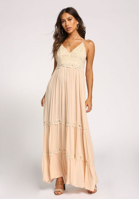 Light Taupe Embroidered Cross Strap Maxi Dress