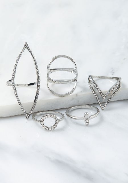 Silver Rhinestone Assorted Rings Set