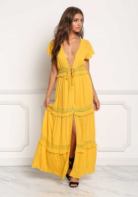 Mustard Gauze Plunge Crochet Button Down Maxi Dres