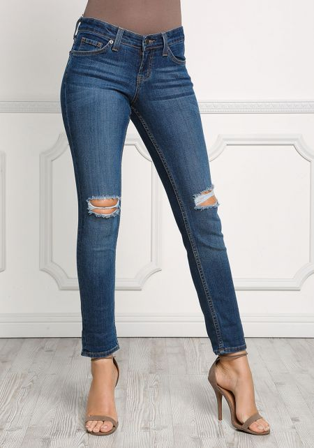 Medium Denim Knee Distress Low Rise Jeans
