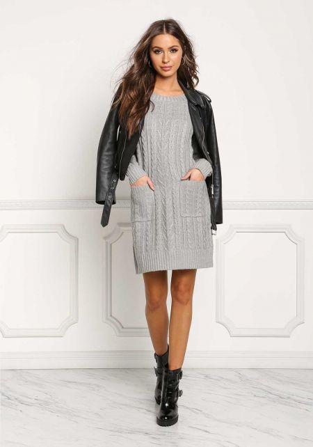 Heather Grey Cable Knit Pocket Shift Dress
