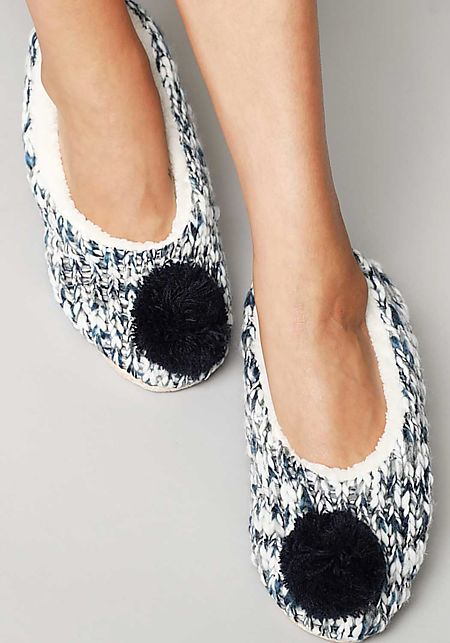 Navy Pom Pom Yarn Sock Slippers