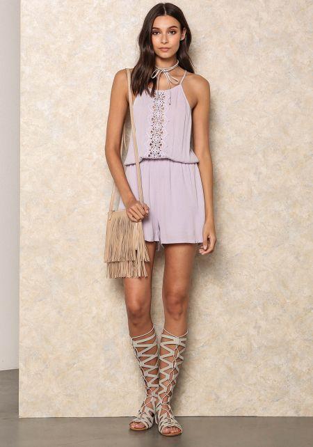 Lilac Crepe Crochet Trim Romper