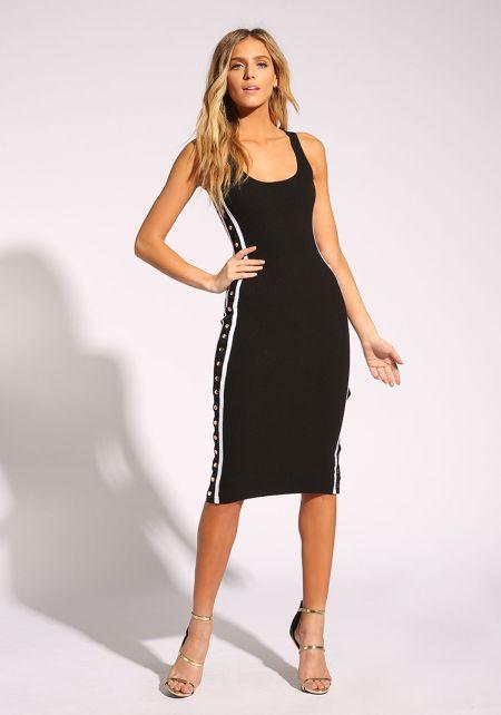 Black Popper Side Stripe Bodycon Dress