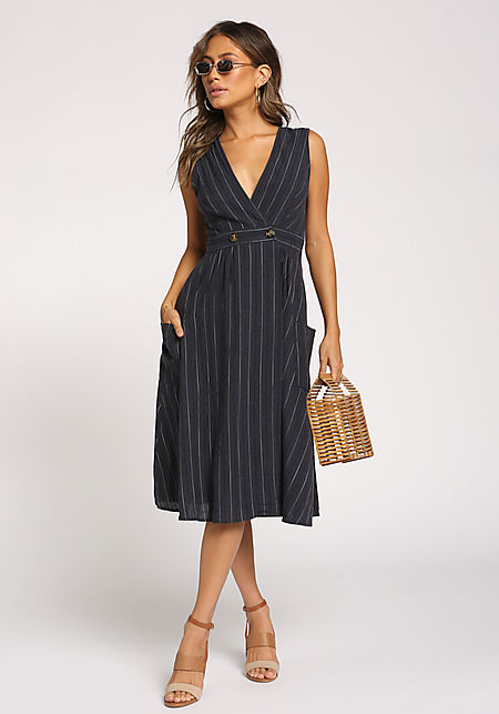Navy Pinstripe Pocket A-Line Dress