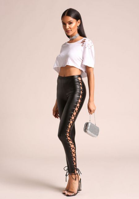 Black Leatherette Side Lace Up Leggings
