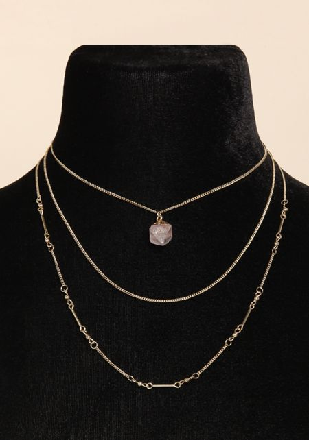 Gold Stone Layered Chain Necklace