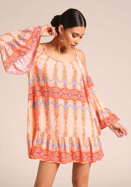 Orange Printed Cold Shoulder Shift Dress