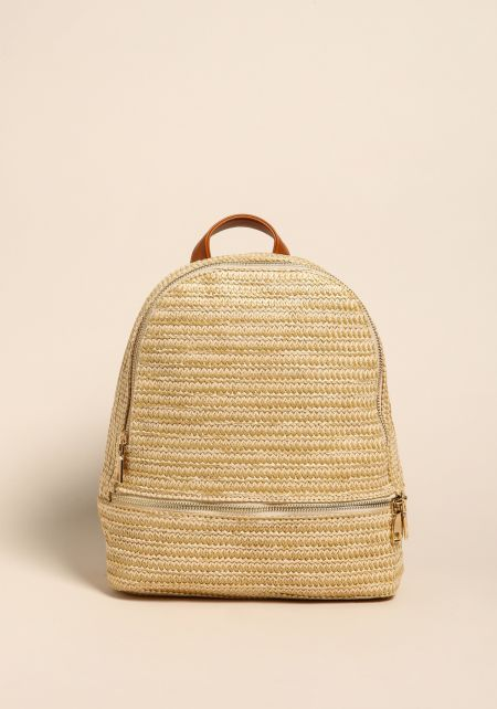 Beige Straw Faux Leather Backpack