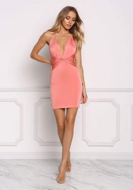 Coral V Plunge Twisted Bodycon Dress
