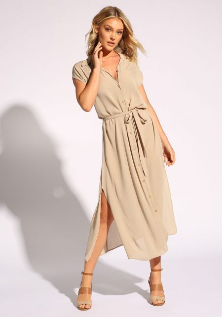 Taupe Waist Tie Button Down Slit Midi Dress