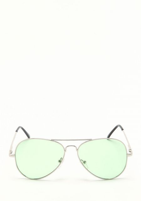 Zero UV Lime Green Flat Lens Aviator Sunglasses