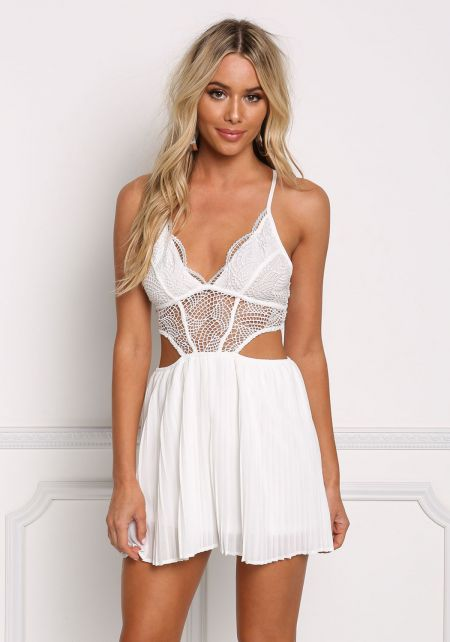 White Crochet Cut Out Pleated Romper