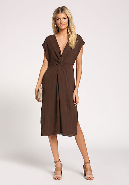 29faef24eec Dark Olive Twisted Slit Midi Dress ...