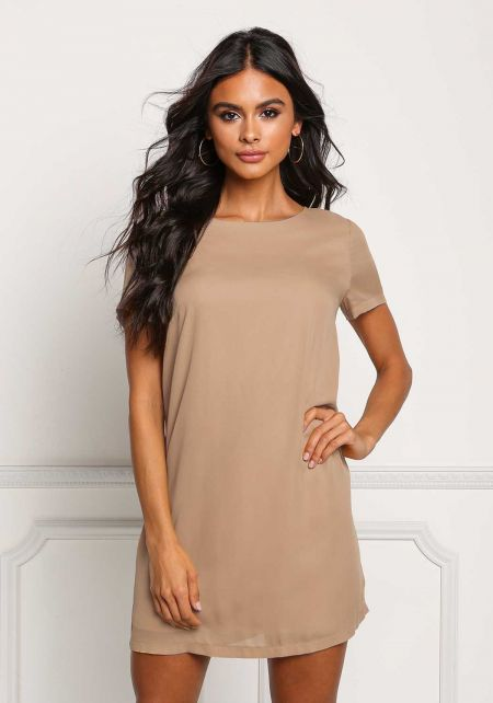 Taupe Basic Shift Dress