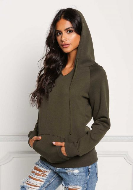 Olive Pocket Hooded Pullover Sweater