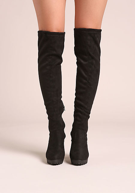 Black Over The Knee Platform Boots