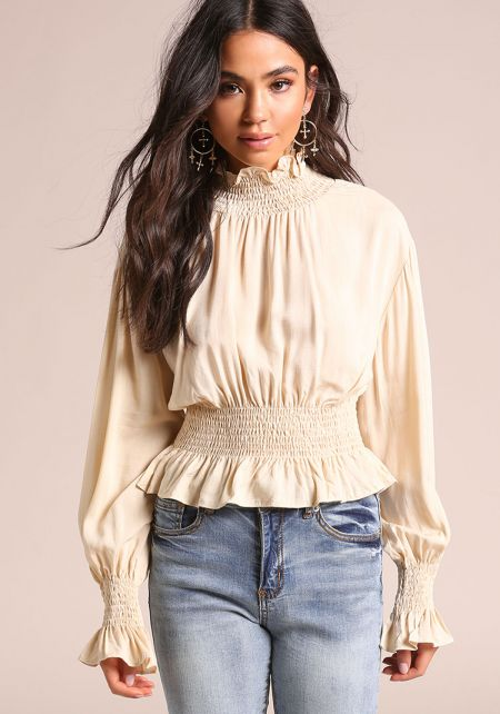 Beige Smocked Puff Sleeve Blouse