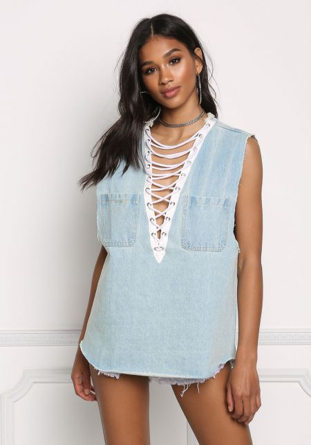 Light Plunge Lace Up Denim Tank Top