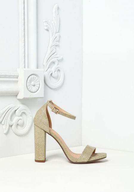 Gold Shimmer Ankle Strap Heels