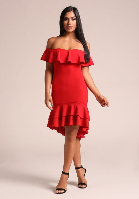 Red Ruffle Layered Off Shoulder Bodycon Dress