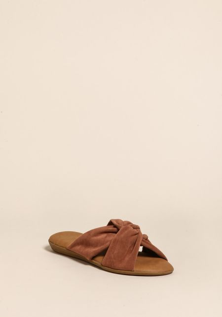Camel Suedette Knotted Sandals