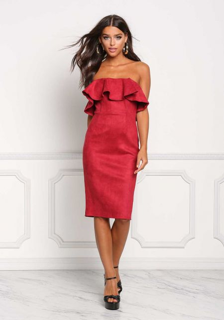 Burgundy Suedette Strapless Ruffle Bodycon Dress